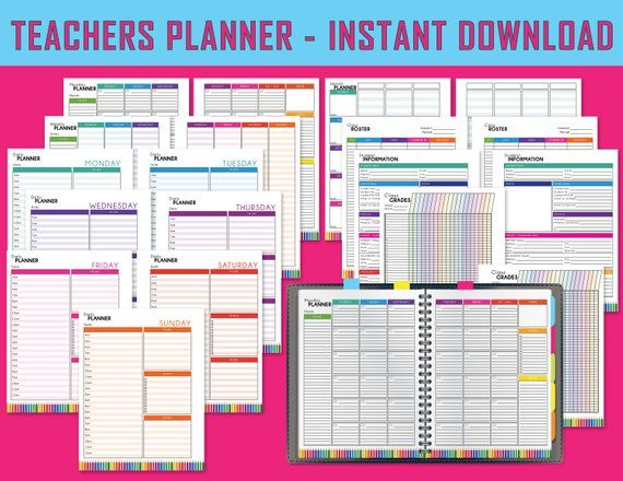 graphic about Teachers Lesson Plan Book Printable known as Vibrant Trainer Planner, Printable Lesson Planner, Trainer