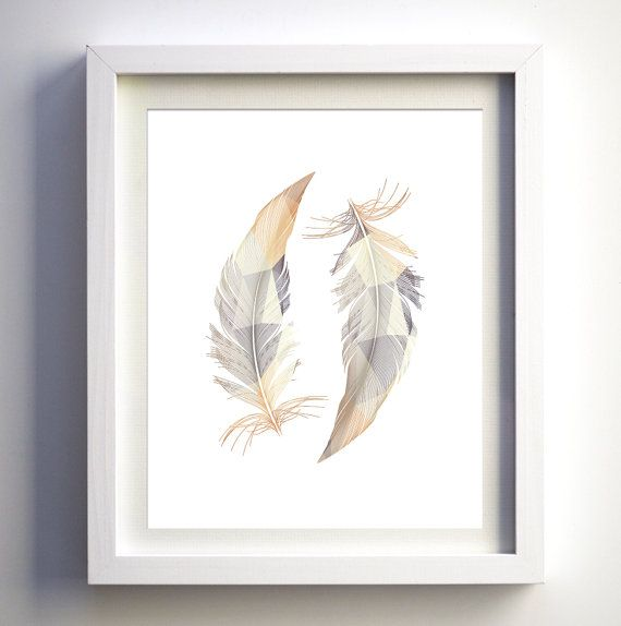Instant download beige taupe modern feathers wall art for Art minimaliste pdf