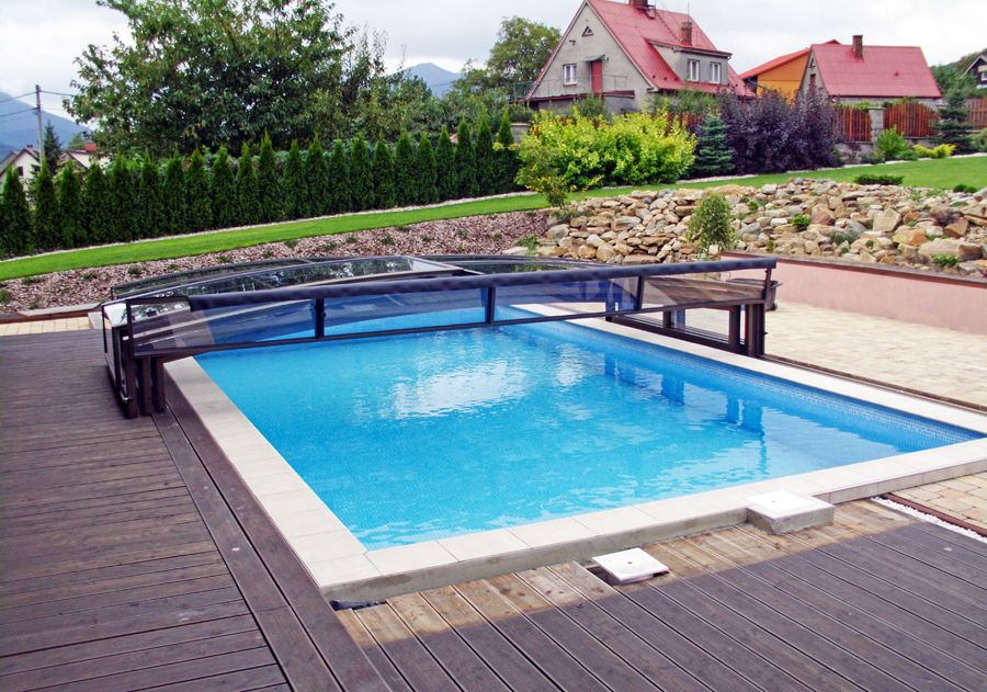 Viva retractable pool enclosure by alukov a s is quality pool cover available in the whole Retractable swimming pool enclosures