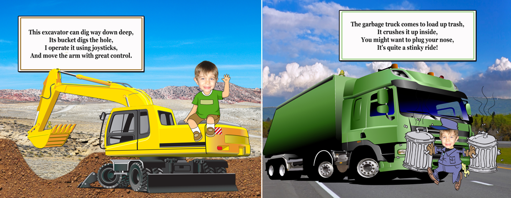 Personalized Books for boys, garbage truck and excavator tractor page