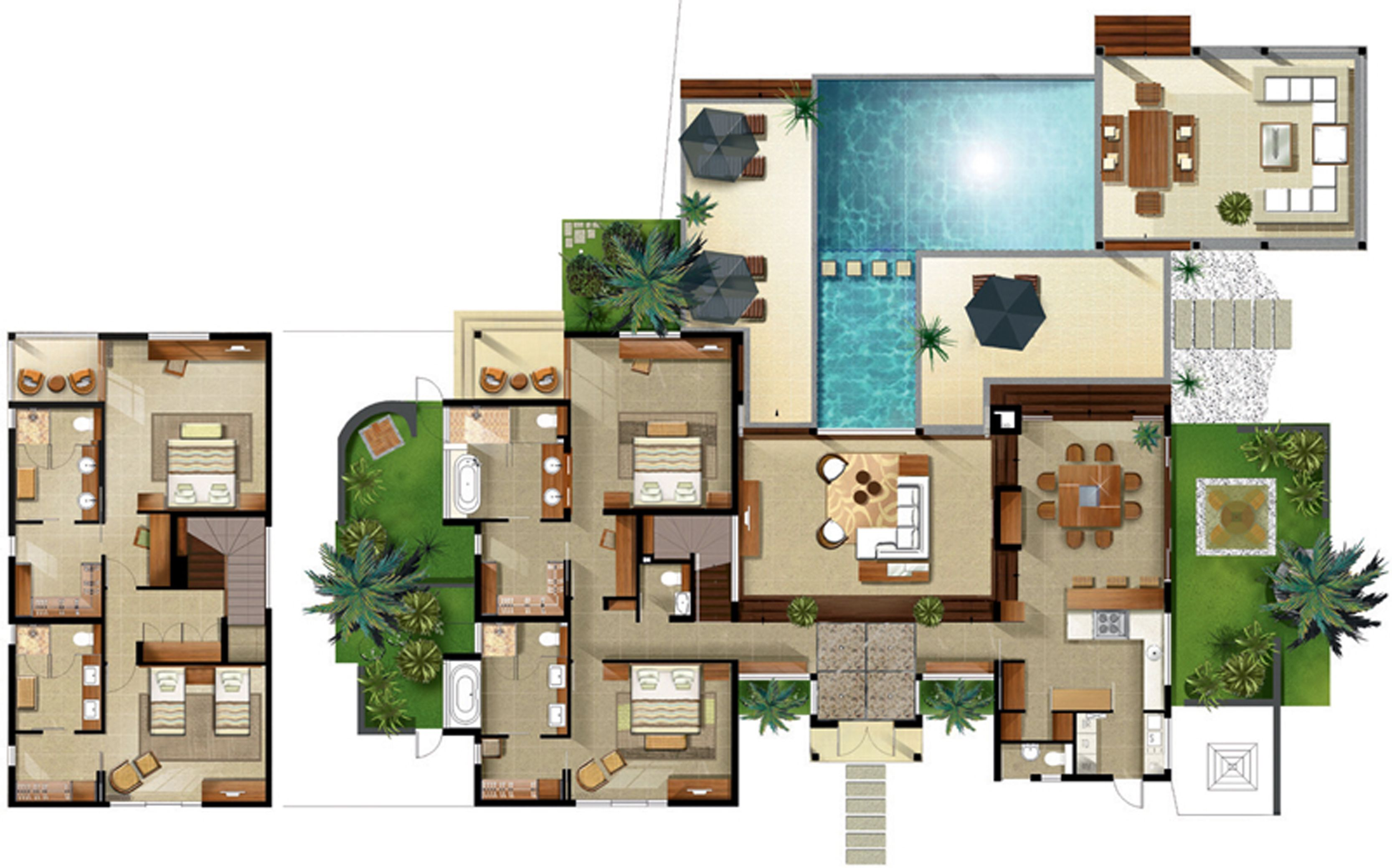 Disney beach club villas floor plan resort villa floor for Villa de luxe moderne interieur