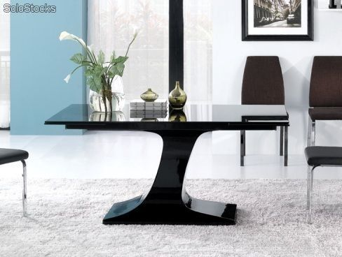 mesa de comedor de diseo pie central de fibra lacada negra