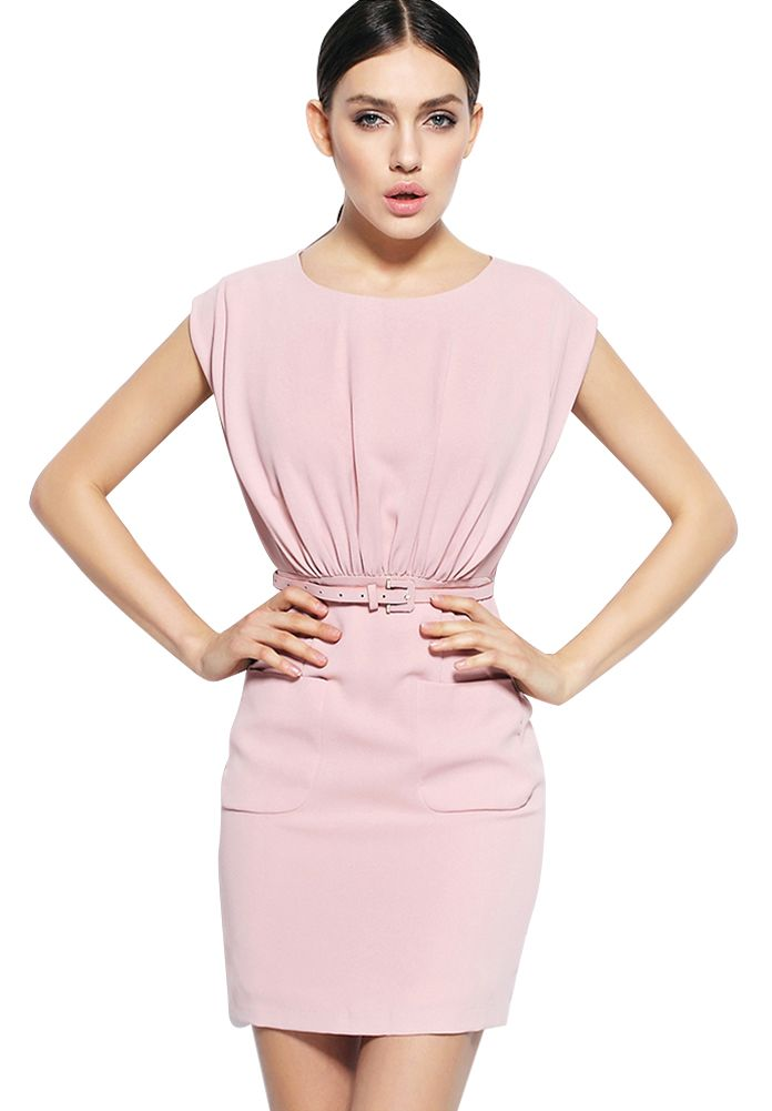 Olyer Women's Round Neck Sleeveless Mini Dress with Belt  Material: Polyester Sleeveless Dress style: short With Belt