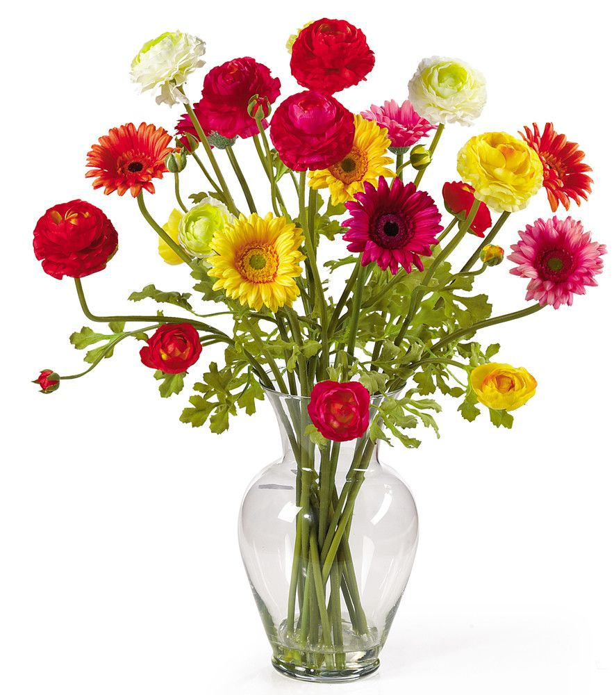 Flowers daisies poppies pink red yellow home on the range silk ranunculus and gerbera daisy arrangement in a glass vase product faux floral arrangementconstruction material silk and glasscolor multifeatures reviewsmspy