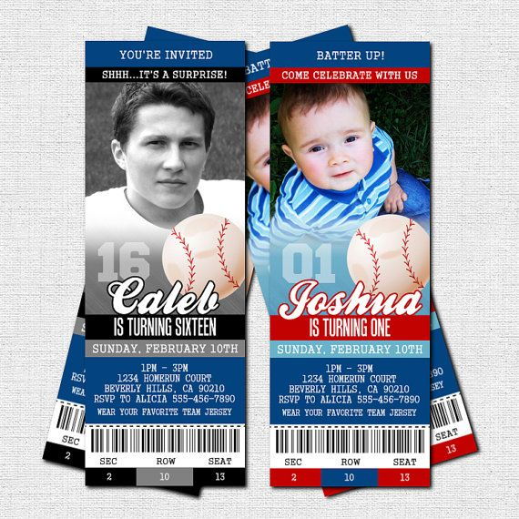 Baseball Ticket Invitations Birthday Party  Bonus Thank You Card