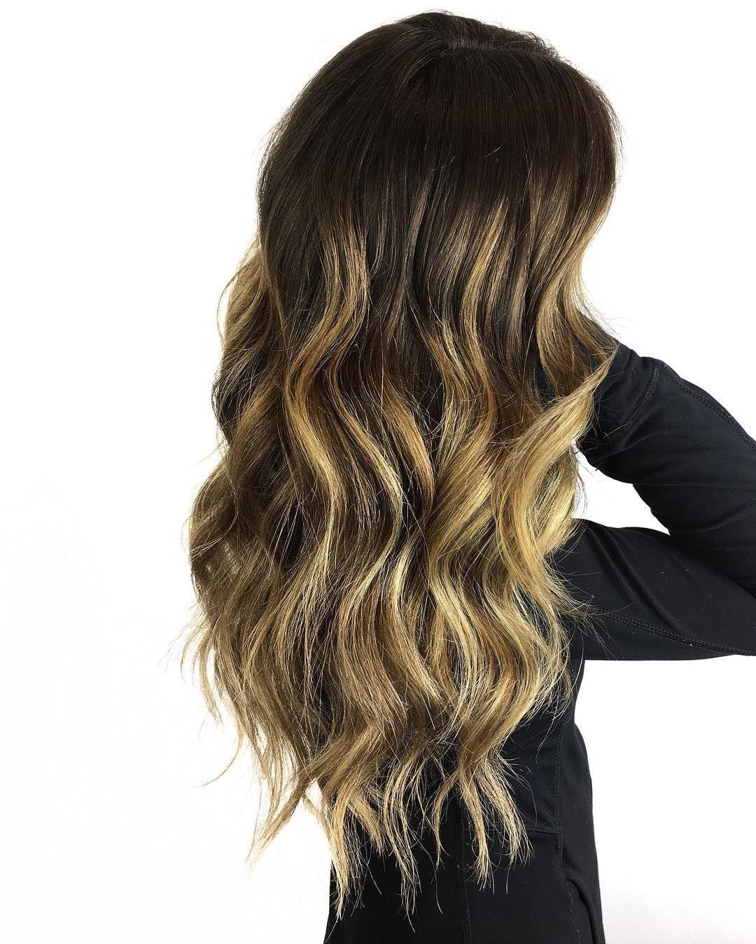 Long Dark,Brown Hair with Yellow,Blonde Balayage