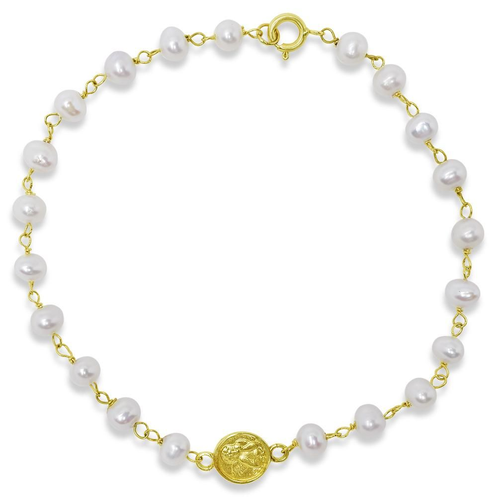 Small angel medal pearl bracelet 14k yellow gold pearl