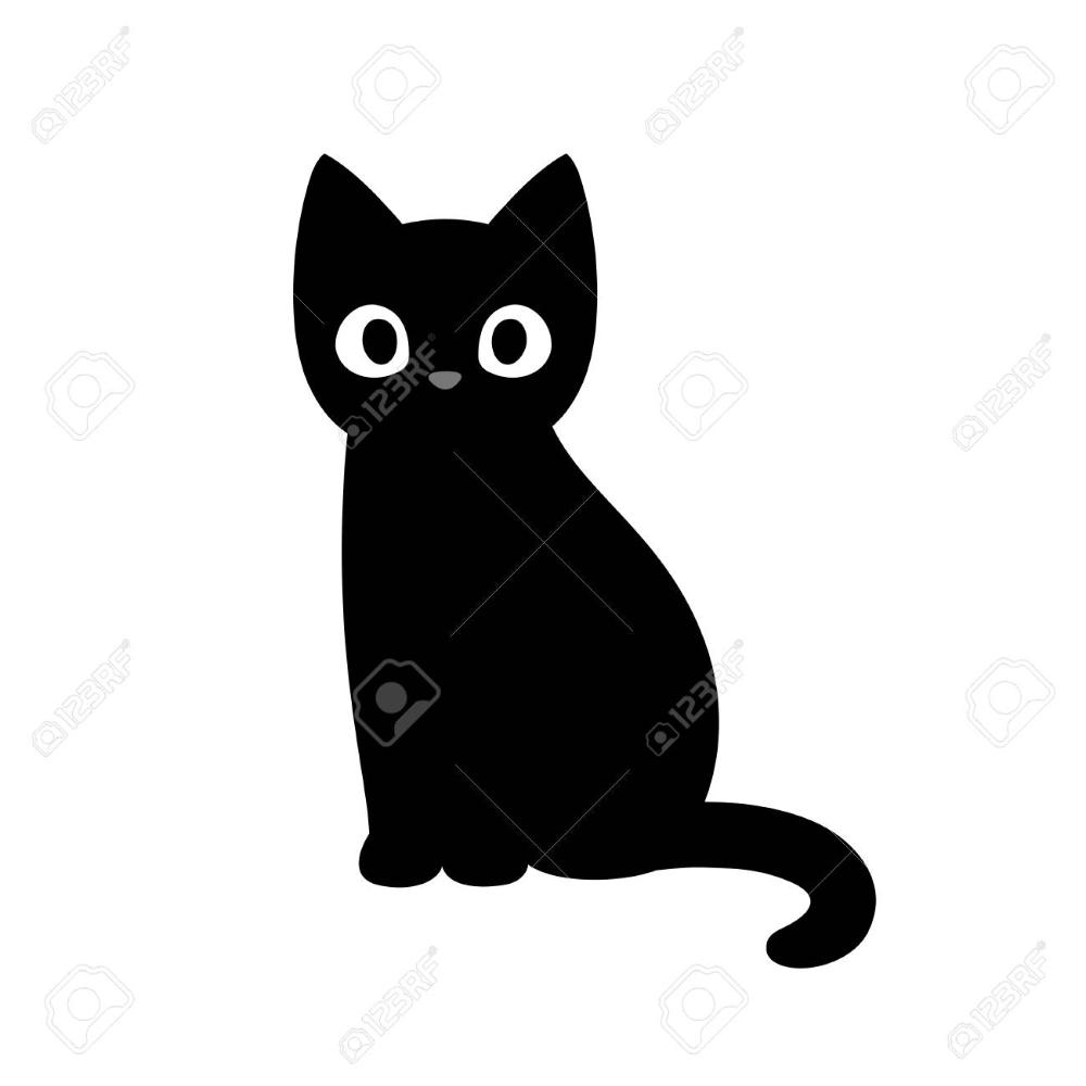 Black Cat Silhouette Black Cat Drawing Kitten Drawing Cartoon Cat Drawing