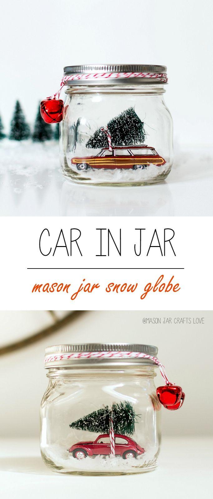Car in Jar Snow Globe - Mason Jar Snow Globe - Station Wagon snow globe - VW Beetle 1/64 with bottle brush tree in mason jar snow globe