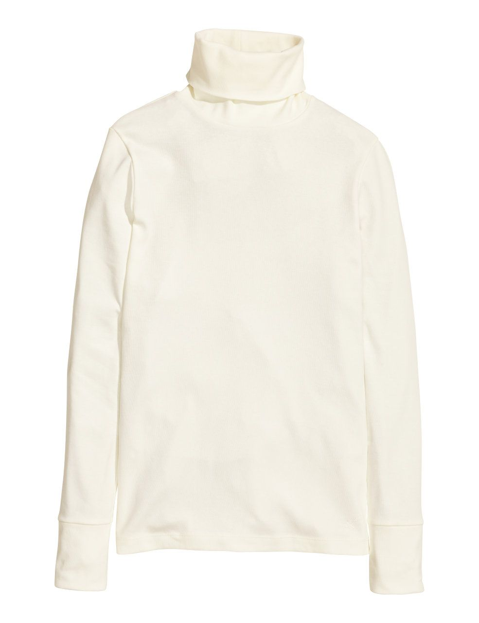 070f3f279 H&M - A/W15 - Concious - Long-sleeved polo-neck top in soft organic cotton  jersey with ribbed cuffs - White