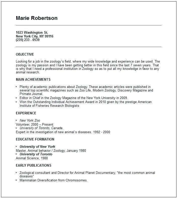 Resume Format For Zoology Lecturer #format #lecturer #resume