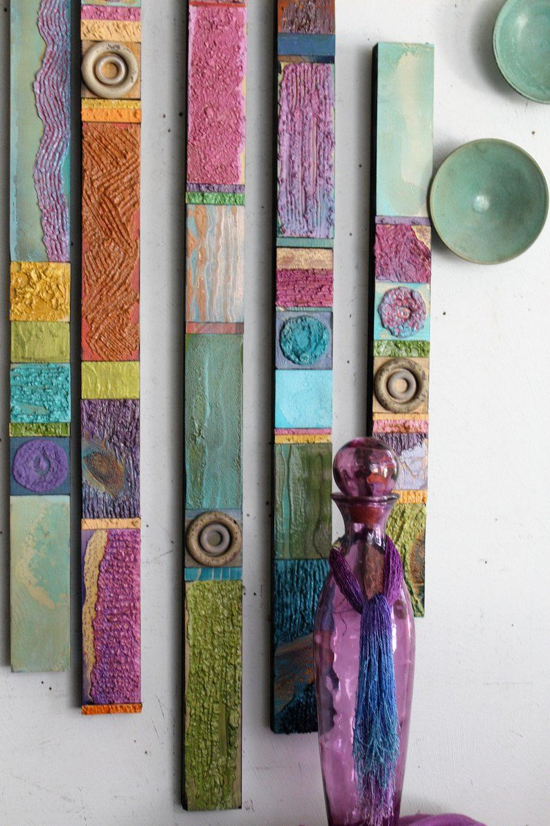 9 Pastell strukturierte Holz Totems 3 x 21 bis 72 ins Mixed Media Found Object Collagen kaufen 1-Set Big Wall Assemblages Installationen Impressionismus