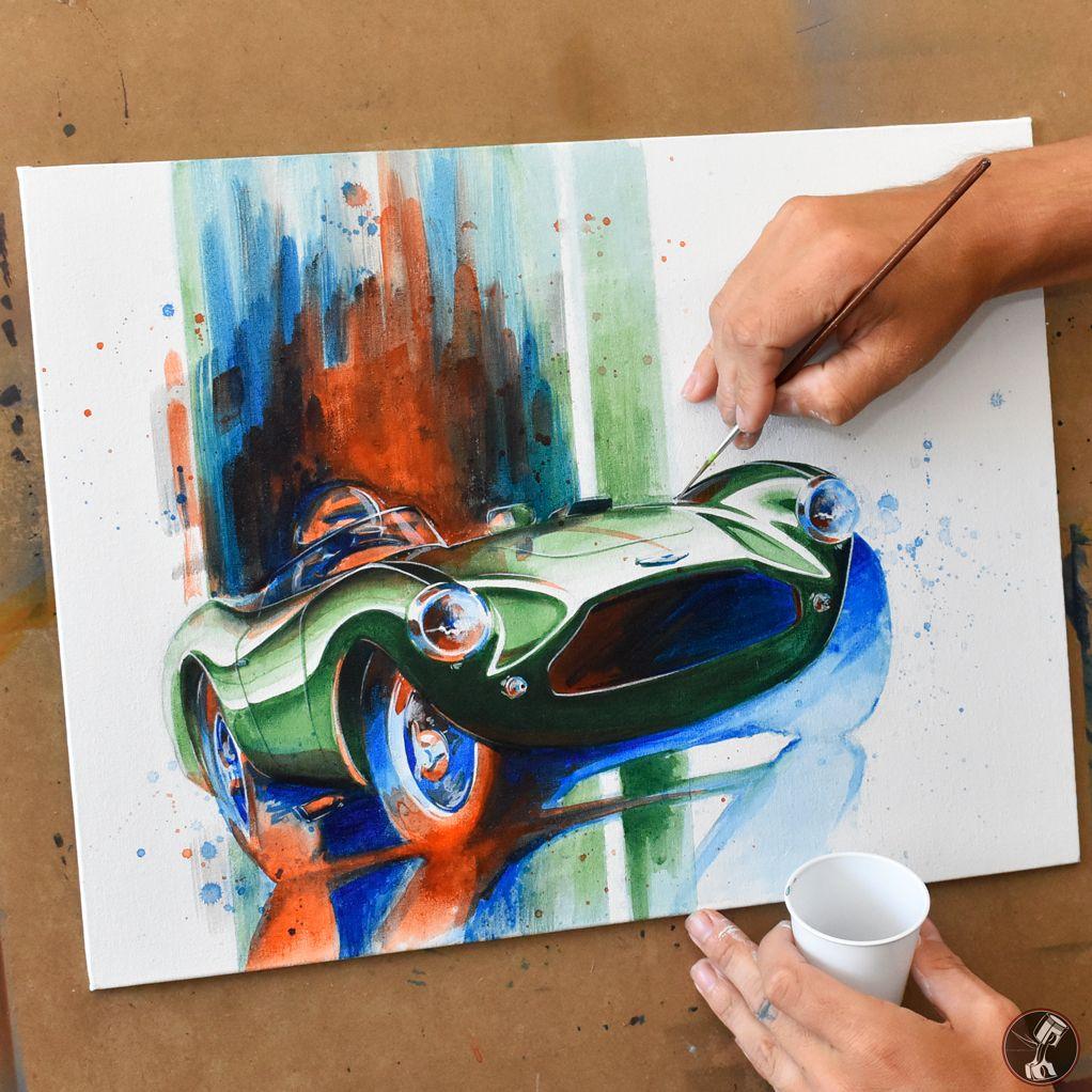 Aston Martin DB3S Watercolor (Vintage Race Car