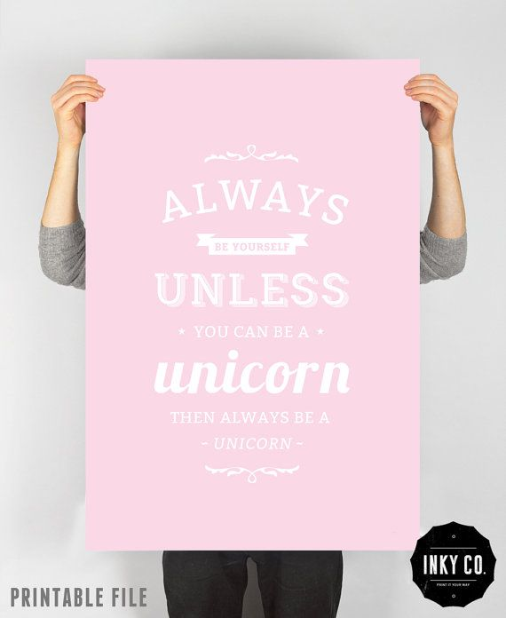 Quote Print, unicorn word art wall decor, inspirational, digital typography - Unicorn Print on Etsy, $6.00