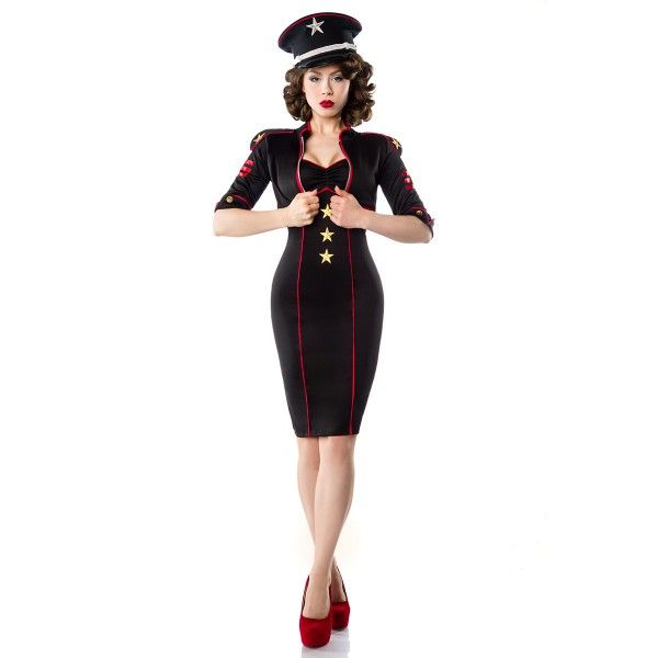 5b9c748a468 Robe Crayon rouge Pin-Up Rockabilly Militaire Belsira