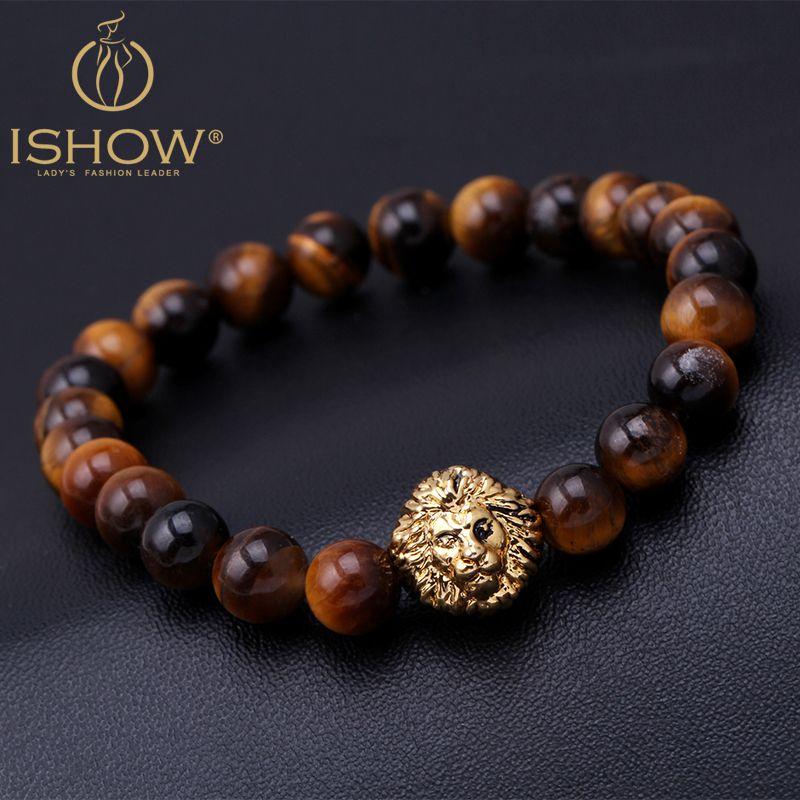 Lion Oeil En Tigre Tête Bracelets Bouddha Bracelet Perles De E9Y2HIWD