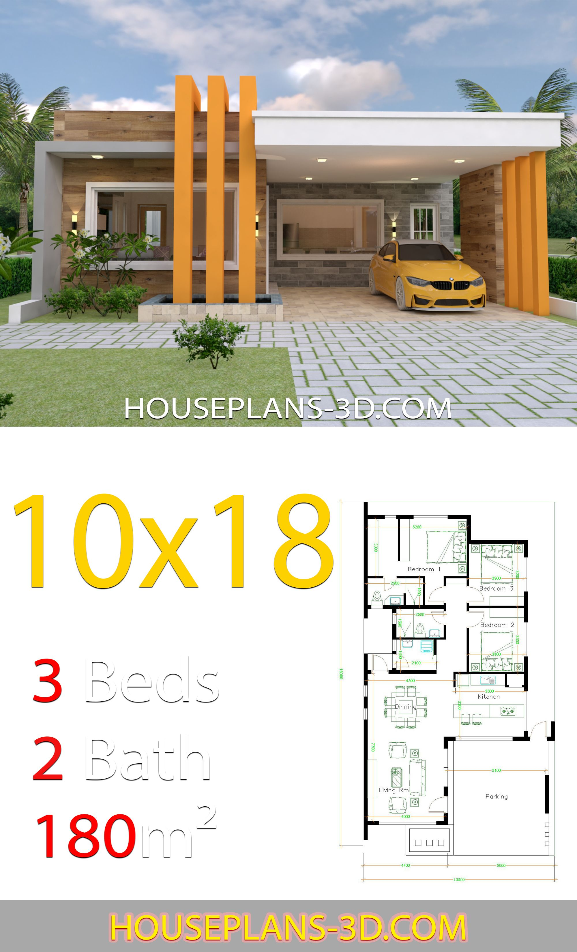 House Design 10x18 With 3 Bedrooms Terrace Roof House Plans 3d Fachadas De Casas Terreas Projetos De Casas Pequenas Projectos De Casas