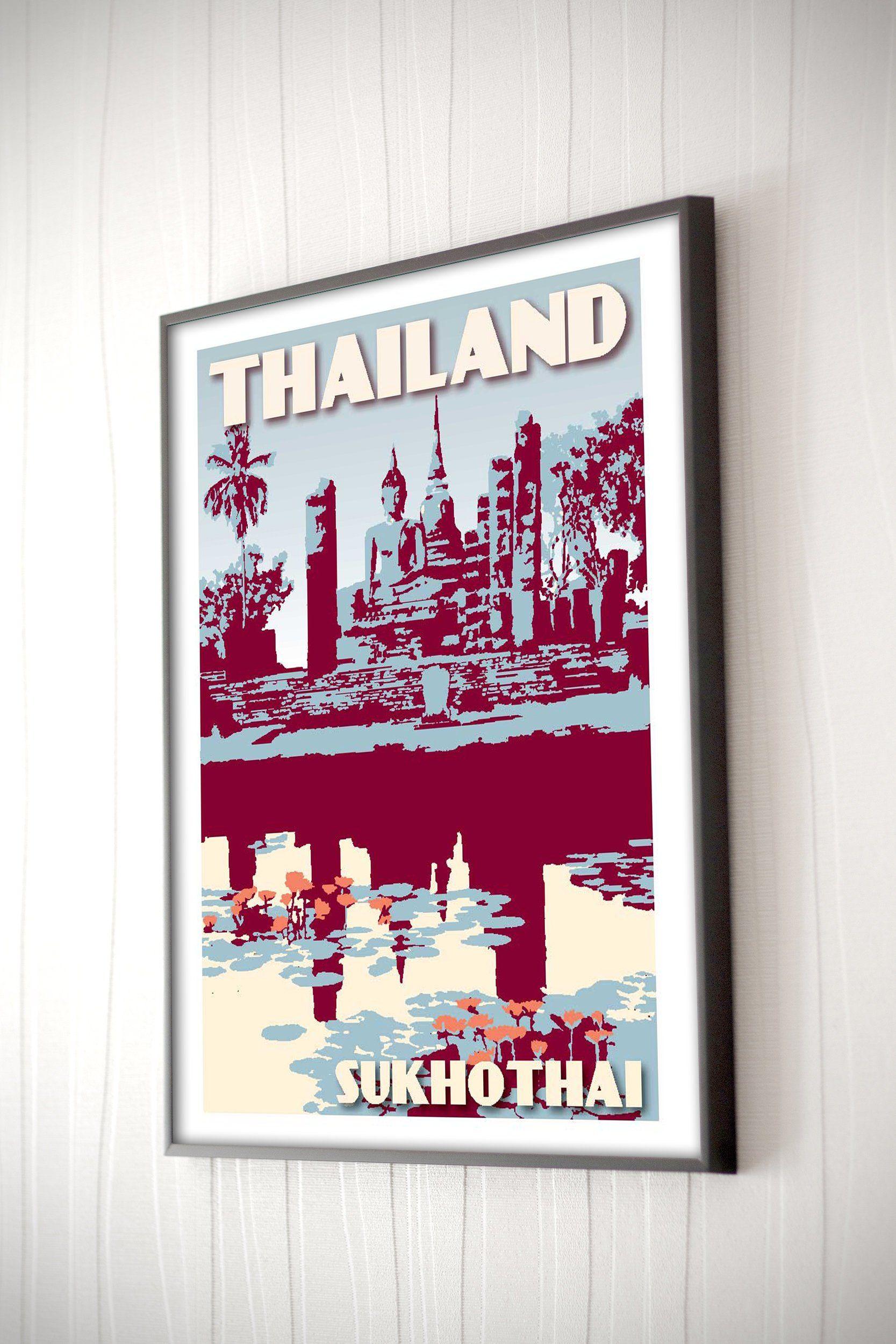 Vintage Poster Thailand Sukhotai Silkscreen Retro Art Poster Frameable 30x40cm Wall Art Decor Travel Gift Buddha Buddhism Zen Reflection