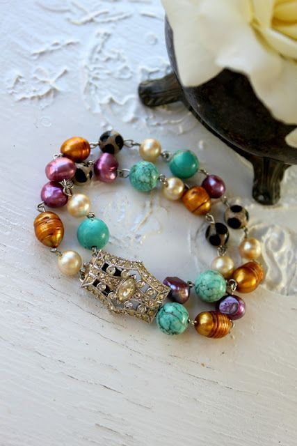 Simply Me Art~ Vintage Art Deco Rhinestone Clasp Bracelet!