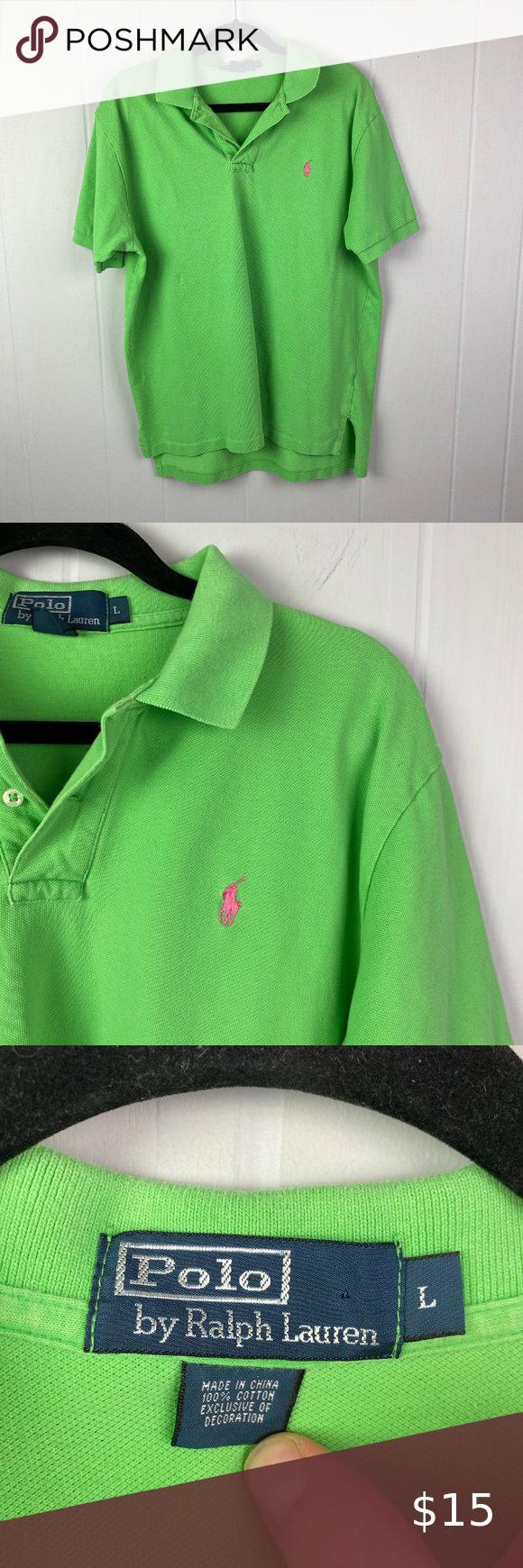 Polo Size L Bright Green Polo Shirt Green Polo Shirts Polo Shirt Shirts