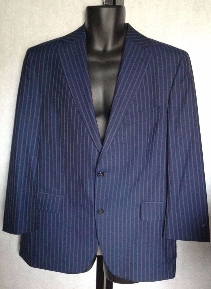 Details about Mens Blue Pinned Stripe JACK VICTOR Sport Coat Suit ...