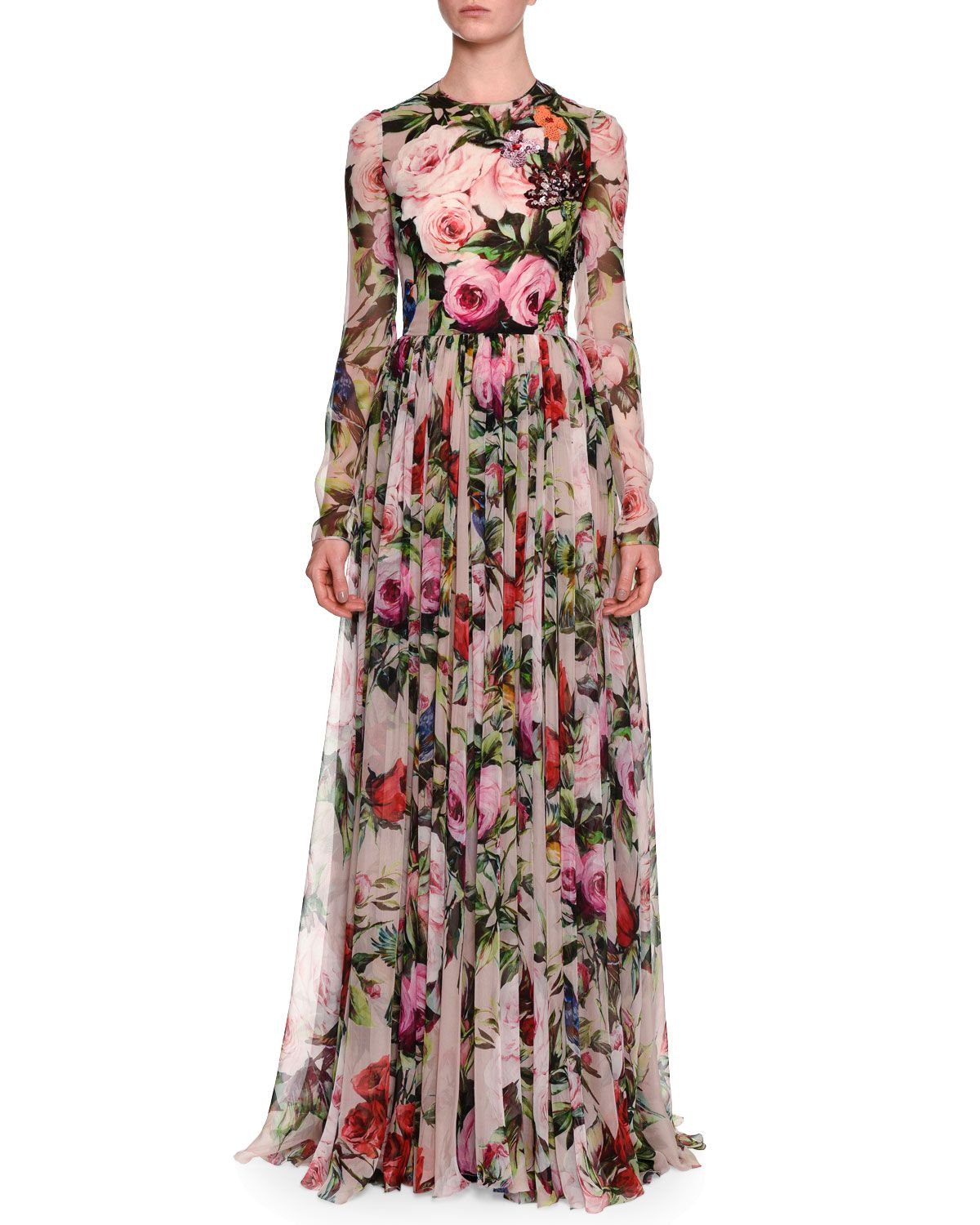 7a0c69ef977 Long-Sleeve Rose-Print Gown Pale Pink/Multi in 2019 | *Clothing ...