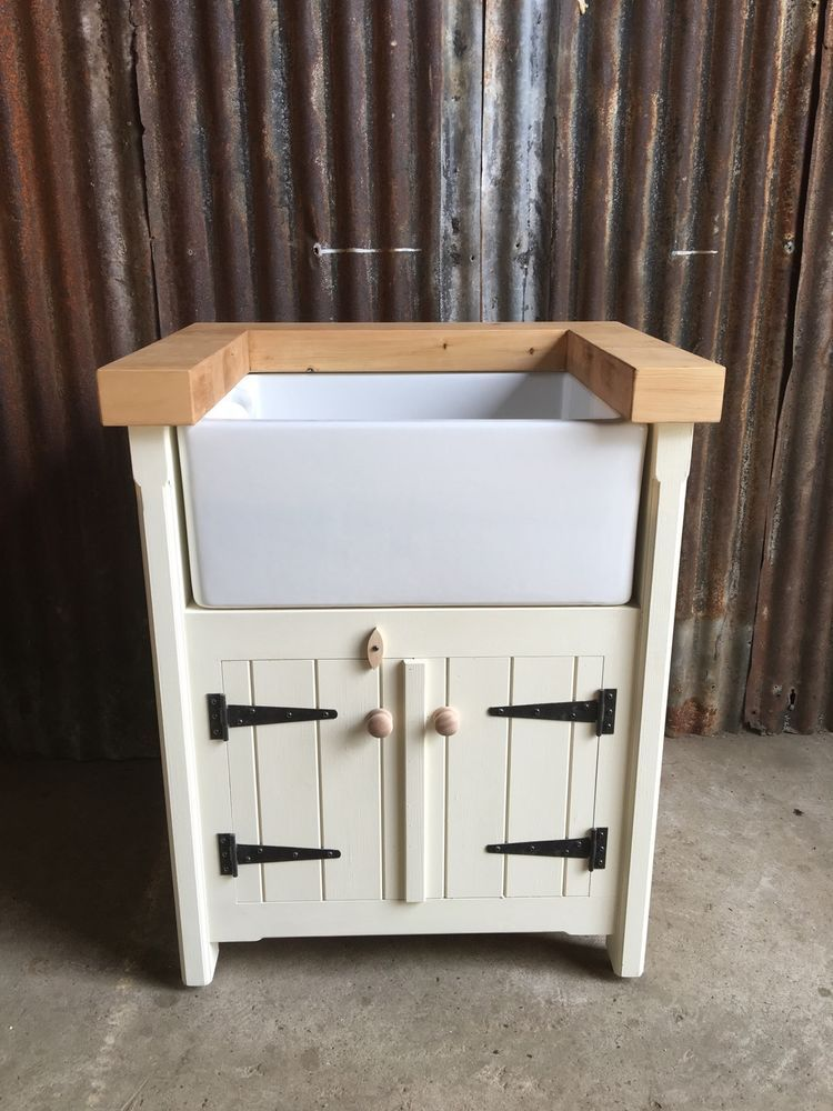 Pine Freestanding Kitchen Handmade Belfast Butler Sink Unit Farmhouse Rustic