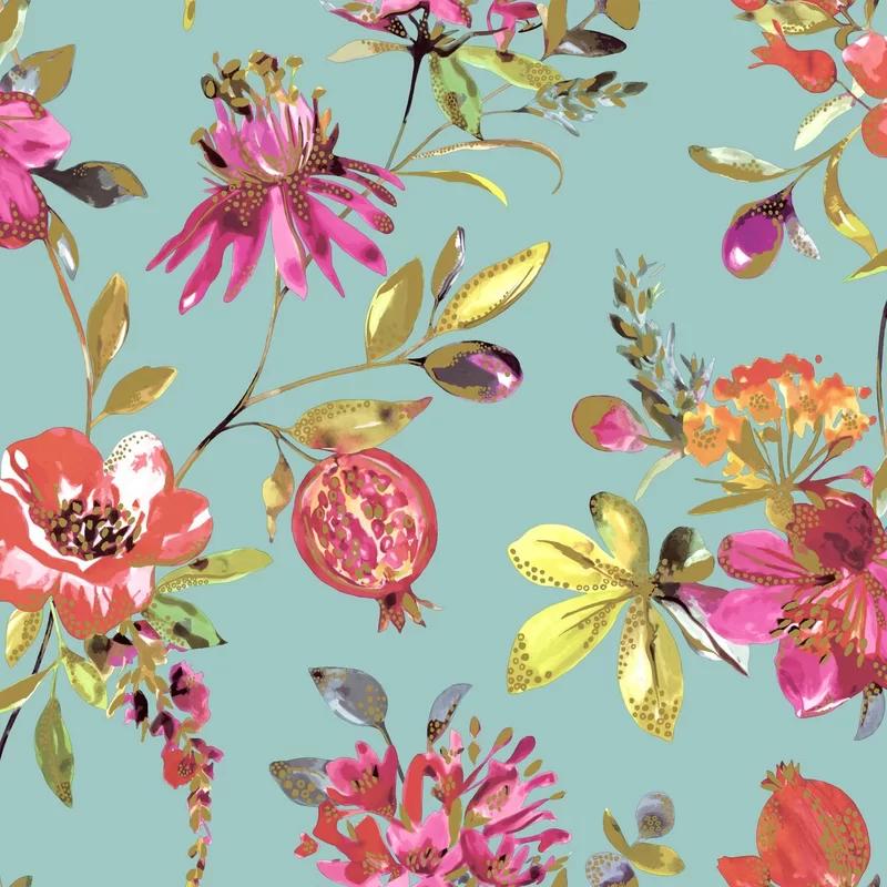 "Bright Blossoms 33' L x 21"" W Wallpaper Roll"
