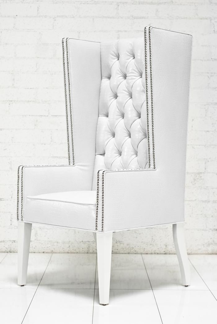 Ultra Tall Mod Wing Dining Chair In Faux White Croc