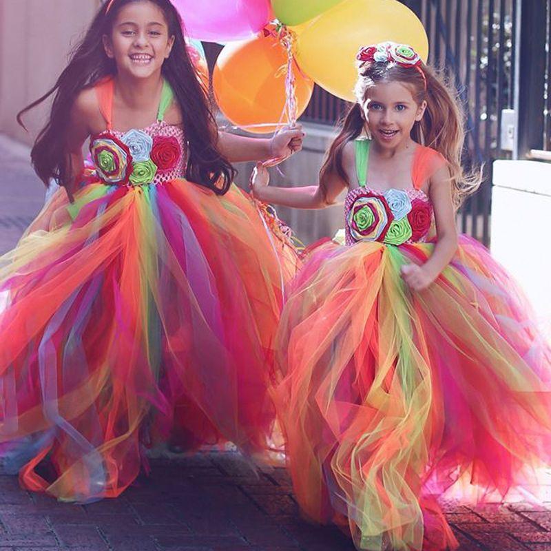 Regenbogen Farbe Tutu Ballkleider Festzug Kleider Für Mädchen Floral ...