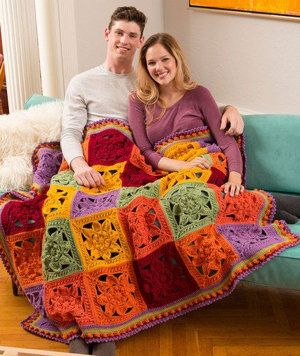 Fabulous Fall Throw Free Crochet Pattern In Red Heart Yarns New