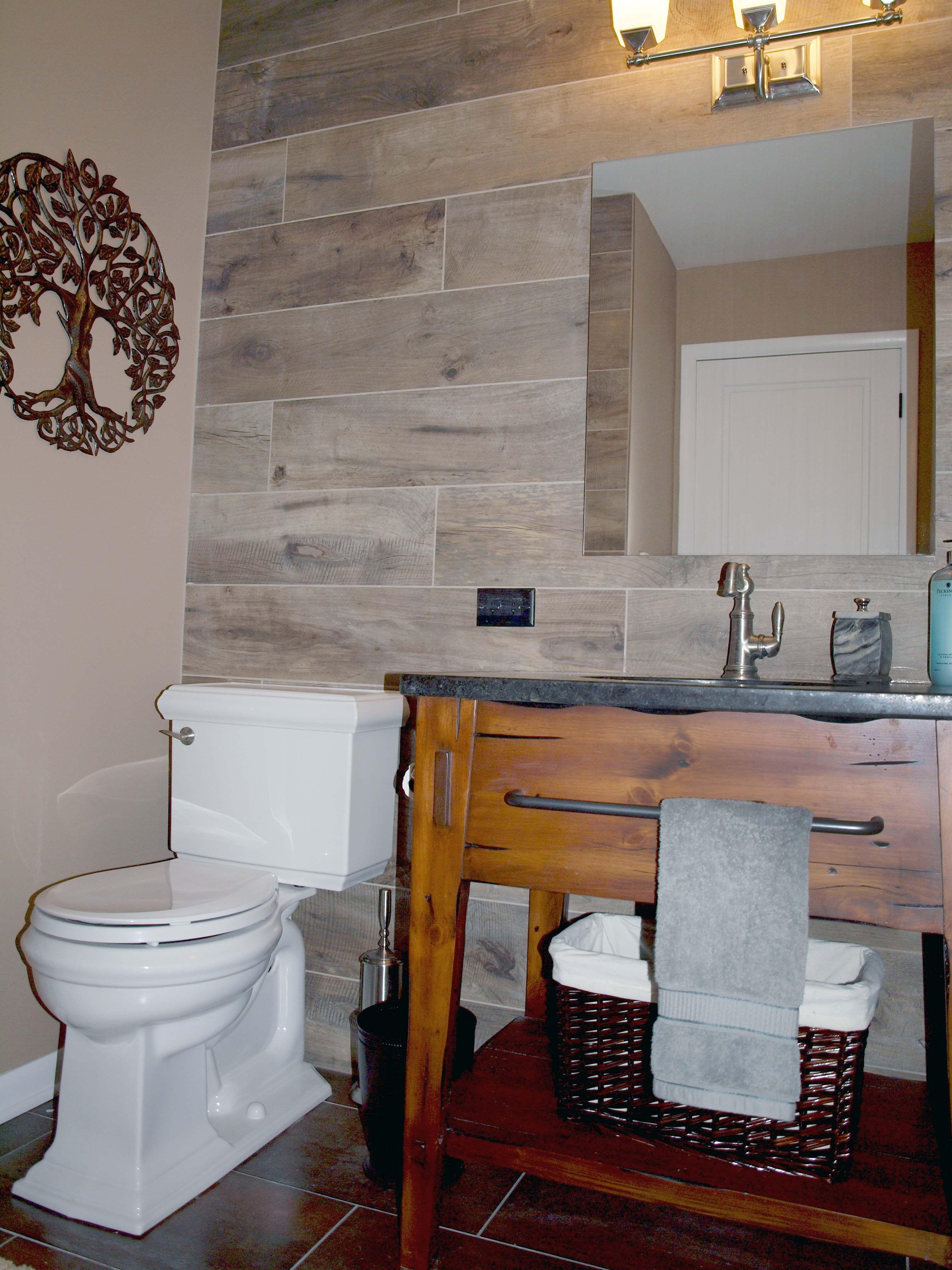 WoodLook Tile on Walls Wood tile bathroom, Tile accent