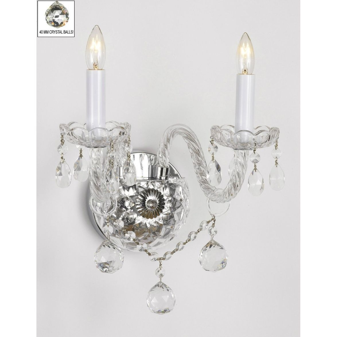 Swarovski Crystal Trimmed Wall Sconce Murano Venetian Style All