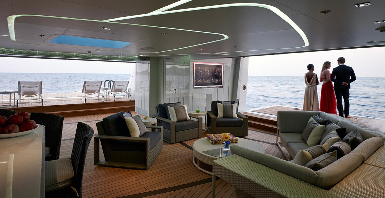 Innenarchitektur Yacht galactica lounge interior design by bannenberg