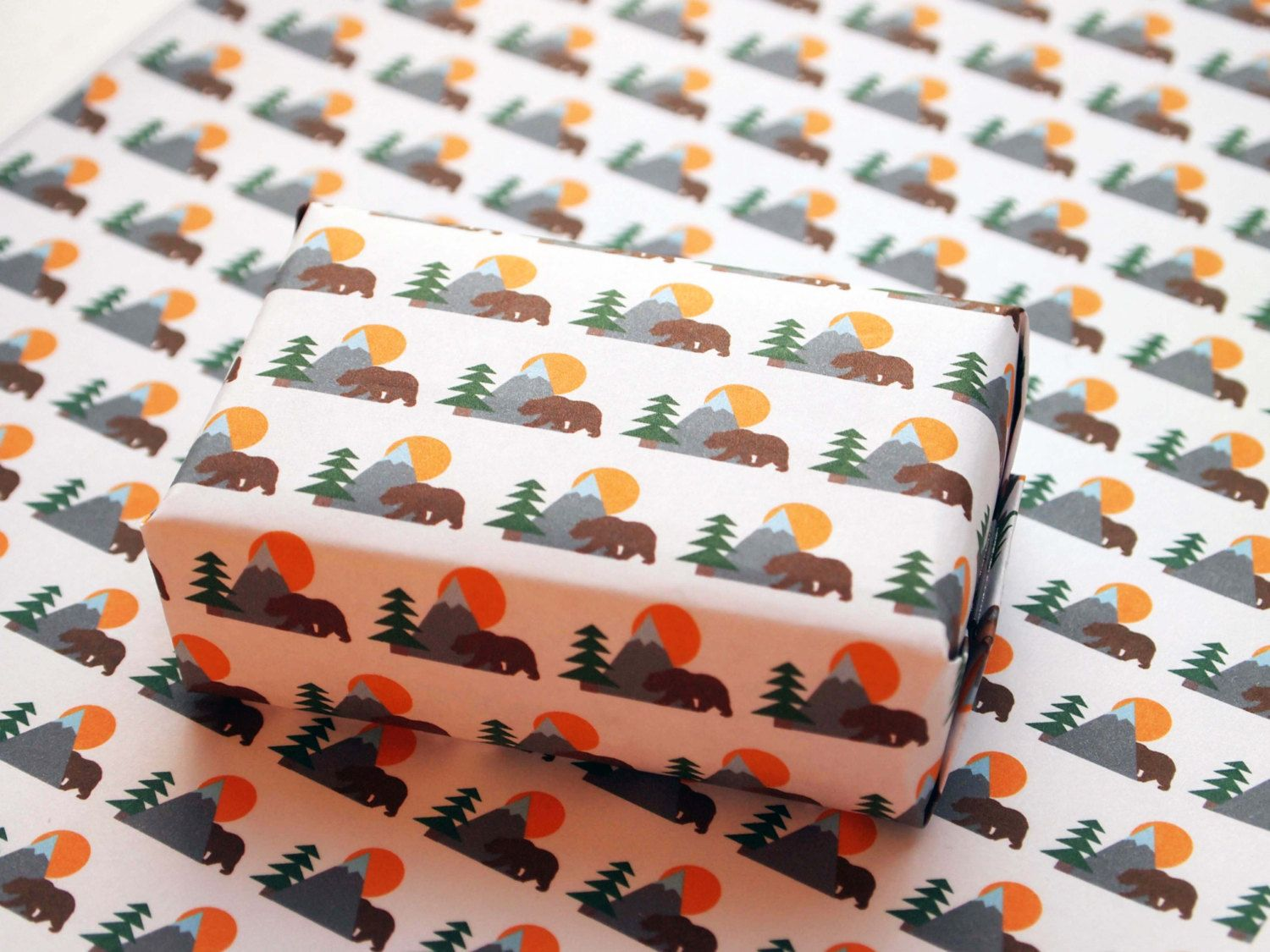 mountain bear printable wrapping paper, digital gift wrap, instant