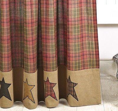 Primitive burlap star shower curtain : stratton cabin rustic red tan ...