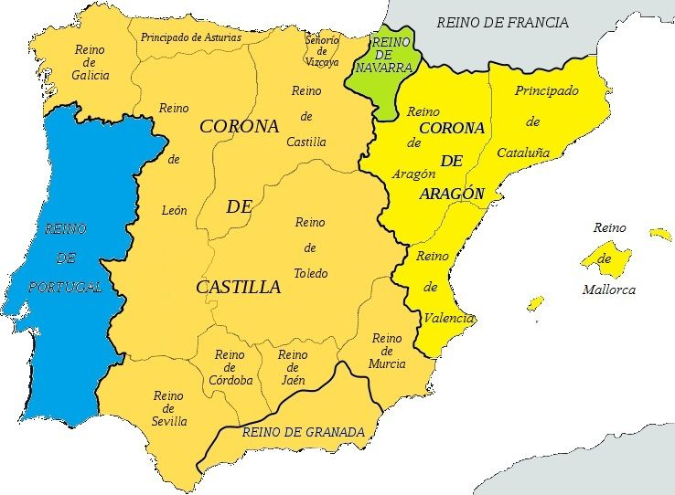 Mapa España Siglo Xv.Mapa De La Peninsula Iberica A Finales Del Siglo Xv Mapa