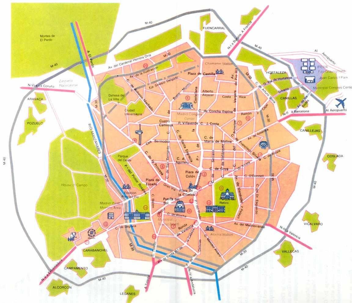 mapa de madrid Mapa de Madrid | Barrios de Madrid | Clase de Español | Pinterest mapa de madrid