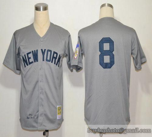 Mitchell And Ness 1951 Yankees #8 Yogi Berra Grey Throwback Embroidered MLB Jersey