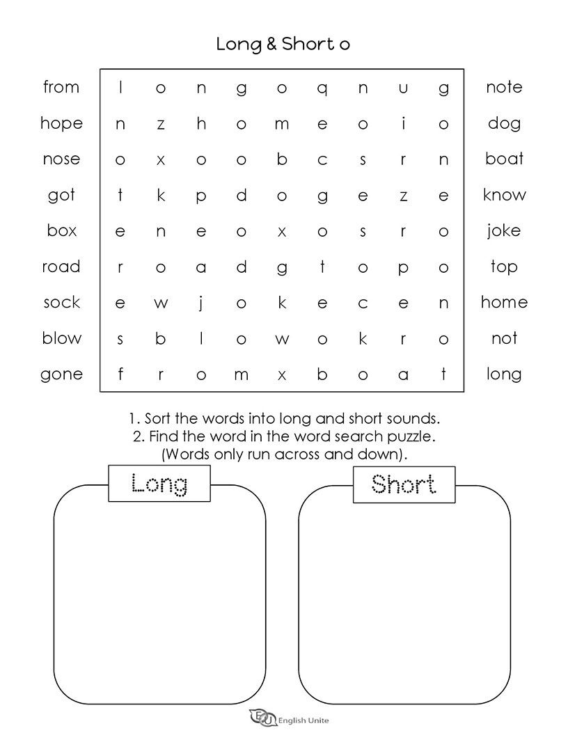 Long And Short Vowels O Word Search Puzzle 4 Short Vowel