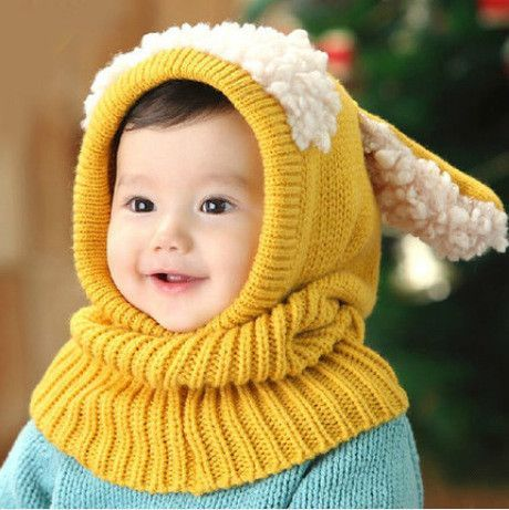 f531f05db34 Christmas Baby Hats With Ears Newborn Toddler Beanie Knitted Caps Hooded  Scarf Earflap Cap Warm Shawl Kids Girls Boys Hat Scarf