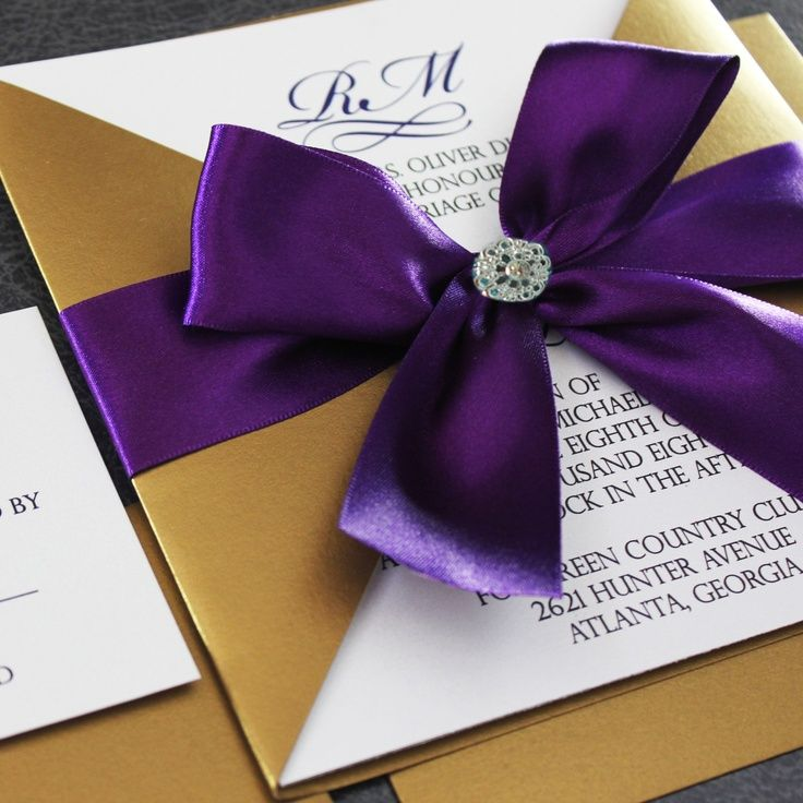 Good Find This Pin And More On Weddings. Gold And Purple Invitations ...