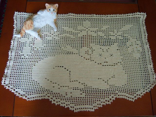 Crazy About Cats Filet Crochet Crochet And Crochet Curtains