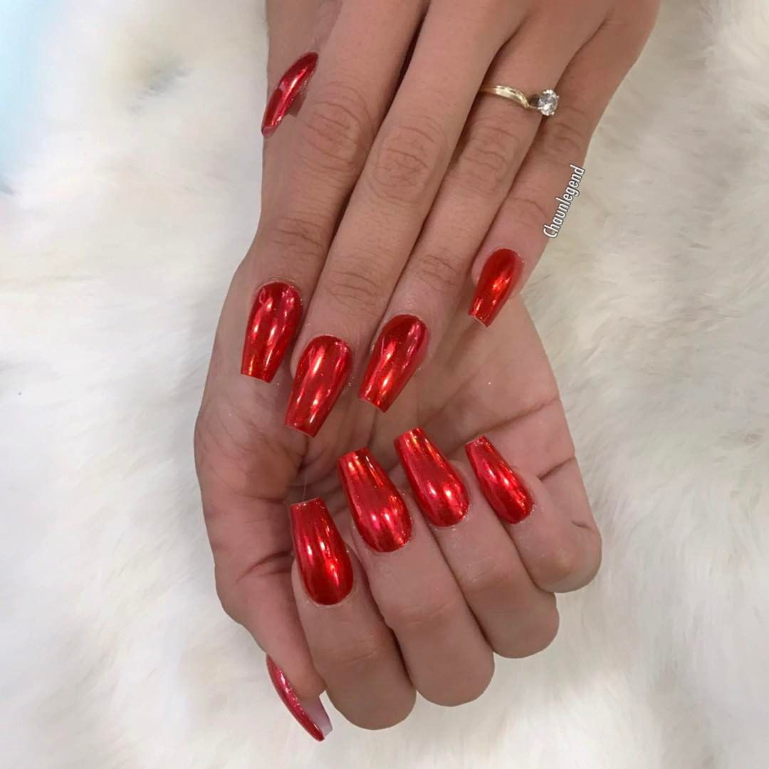 Chorme Nails Coffin Glam Bling Beauty Red