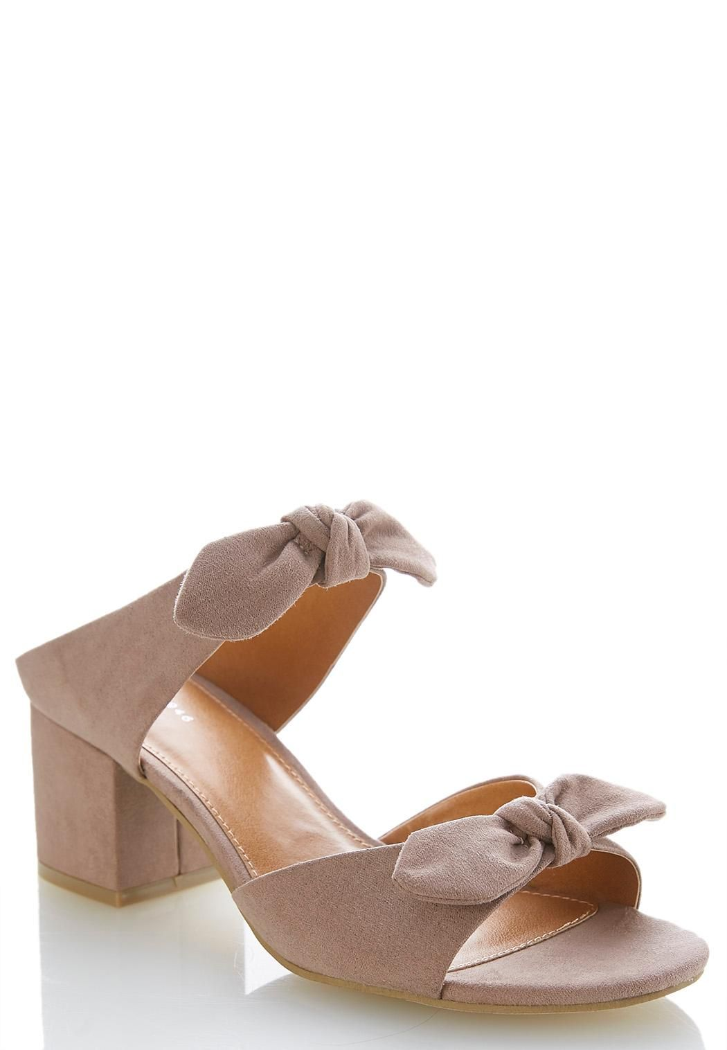dfbb7db4ee75 Faux Suede Bow Mules Sandals Cato Fashions