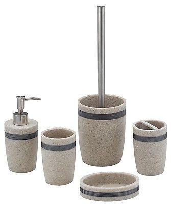 bathroom accessories sets silver. #Aquila- Sand #resin Bathroom #accessory Set With A Graphite Silver Band, Accessories Sets T