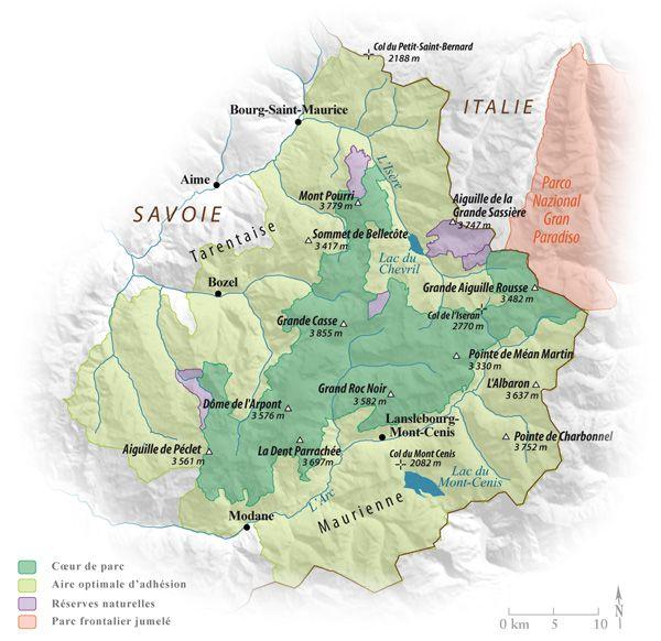 parc de la vanoise carte Carte du parc national de la Vanoise   Parc national, Parcs