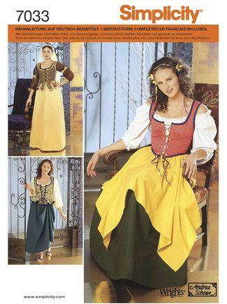 Schnittmuster: Historisches Kostüm - Magd - Kostüme - Simplicity ...