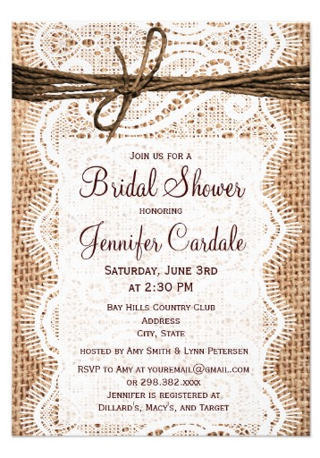 Rustic Country Burlap Bridal Shower Invitations Two Sided Invites Prices Based On The Number Of You Order Perfect For A Bride