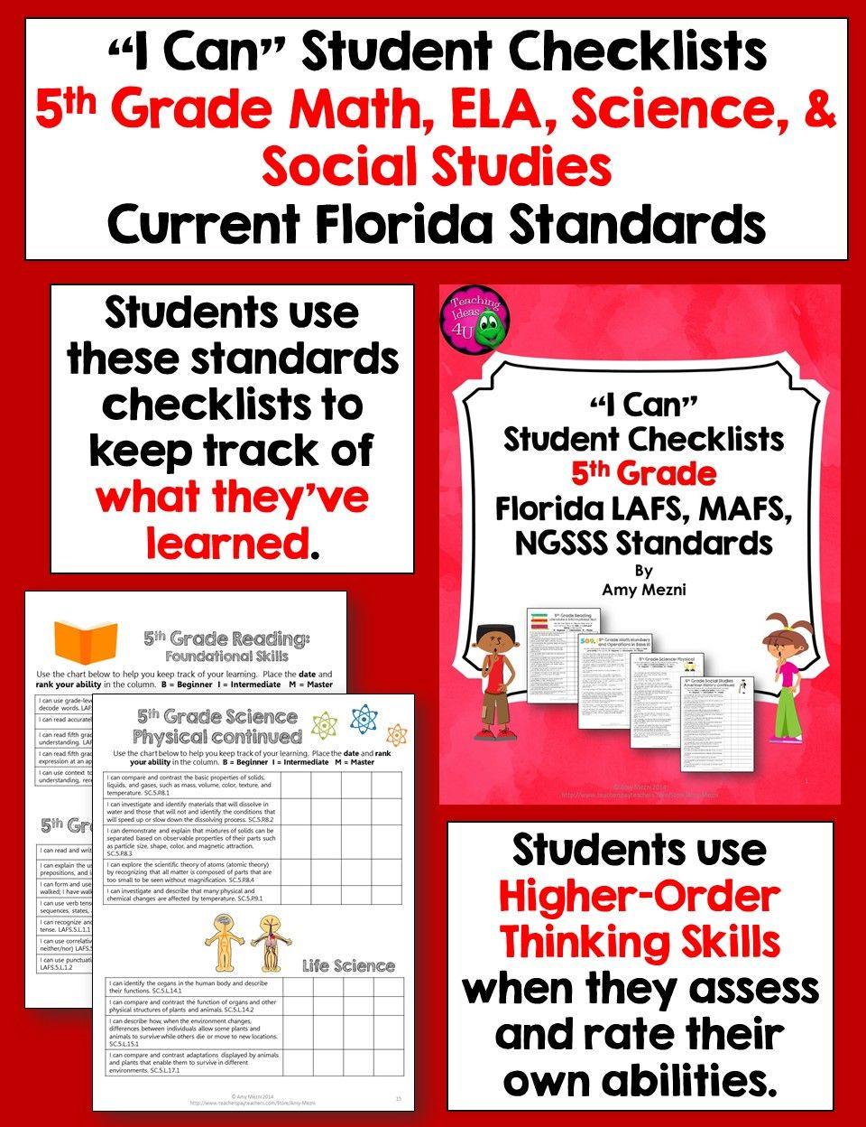 I Can Student Checklists For Florida Lafs Mafs Ngsss Standards 5th Grade Students Use These Checklists To A 5th Grades Fifth Grade Math Learning Science [ 1248 x 960 Pixel ]